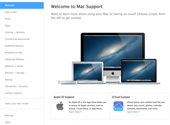 Mac Support Website - Main Page