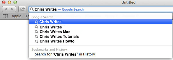Safari Search Screenshot