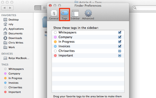 Finder Tags preferences