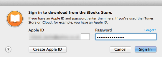 iBooks Sign in
