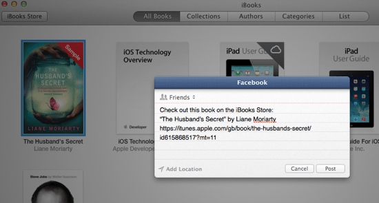 iBooks - Share Options
