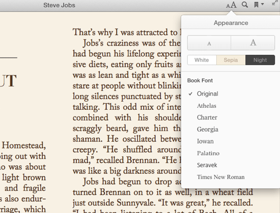iBooks Fonts and Themes
