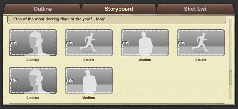 Storyboard projects window